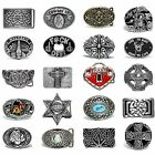 BBUM0371 MANY STYLES CROSS / KNOTS / FLORAL / COWBOY ALLOY METAL BELT BUCKLE