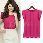 Fashion Womens Chiffon Tulip Short Sleeve Casual Shirt Loose Blouse Tops T-shirt