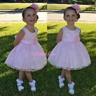 Satin Embroidery Dress Wedding Flower Girl Pageant Occasion Pink Size 9m-5 #272