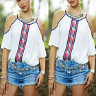 Women Boho Sexy White Off shoulder Loose Tops Lady Fashion Casual T-Shirt Blouse
