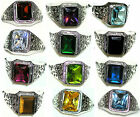 Men's 11x9mm Rectangle Stainless Steel Birthstone Ring - Exclusive to our store!