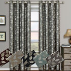 Luxury Charlotte Grommet Jacquard Window Curtains Drapes Pair 100% Polyester