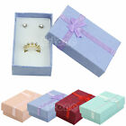Lot Chic Jewelry Ring Necklace Earrings Gift Box Rectangle Silk Bowknot Case