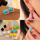 Women Lady's Stylish Elegant Rhinestone Square Ear Stud Earrings Jewelry
