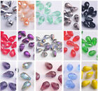 10/72pcs 12x8mm Teardrop Faceted Crystal Glass 5500# Loose Spacer Beads 25 Color