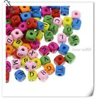 FREE SHIP 100Pcs Mixed Color LETTER SQUARE Design Wood Beads 10X9MM BE337