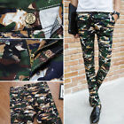 New Mens Skinny Fit Women Pants Casual Stretch Pencil Trousers Camo Pattern Chic