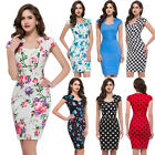 WOMEN'S VINTAGE PIN UP OFFICE WIGGLE PENCIL COCKTAIL PARTY RETRO DRESS PLUS SIZE