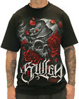 Sullen Clothing Jeremiah Red Mens T Shirt Black Skull Rose Tattoo Goth Tee