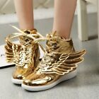 Sexy Womens Fashion Ankle Boot College Angel wings  Lace Up Round Toe Hide Shoes