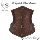 Gothic Steampunk Underbust Waist Training Corset Strong Lace Up Bustier Belt