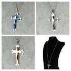 Gift Unisex's Men Black Silver Stainless Steel Cross Pendant Necklace Chain HUK