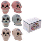 Day Of The Dead Sugar Skull Floral Skeleton Shaped Gothic Salt & Pepper Shakers