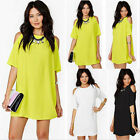Hot Womens Summer Off Shoulder Short Sleeve Chiffon Mini Dress Casual Loose Tops