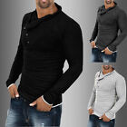 New Mens Muscle Shirts Round Neck Slim Fit Long Sleeve Casual T-Shirt solid Tee