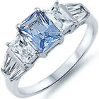 Sterling Silver 3 Stone Aquamarine Clear CZ Engagement Wedding Ring Size 3-11
