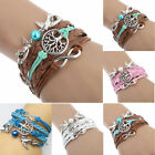 NEW DIY Style Jewelry fashion Leather Cute Infinity Charm Bracelet 5 Colors W