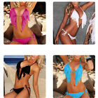 New Womens Sexy Tassel PAD Bandeau Fringe Top Bikini Bottom Swimsuit Swimwear