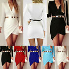 Sexy Women's Bandage Bodycon Long Sleeve Evening Party Cocktail Short Mini Dress