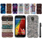 For Motorola Moto G 2014 2nd Gen XT1068 PATTERN HARD Protector Case Cover + Pen