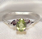Genuine Faceted Oval Green Peridot .925 Sterling Silver Ring -- PDR005