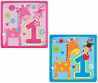 "8 Small 7"" Square Paper Plates 1st First Birthday Party Blue / Pink Zoo Animals"