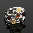 MULTI COLOURED BALTIC AMBER SILVER RING STERLING SILVER NEW BOXED