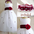 Lovely white/burgundy wine flower girl party dress FREE HEADPIECE all sizes