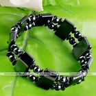 Punk Black Hematite Stone Healing Gems Bead Elastic Stretchy Bracelet Bangle
