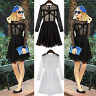 2014 New Women Lady GIRL Slim Floral Lace Chiffon Casual Dress Long Sleeve Dress