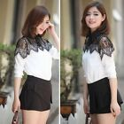2015 Spring Fashion Women Chiffon Lace Shirt Top Long Sleeve Shirt Casual Blouse
