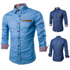Fashion Mens Boys  Demin Jean Long Sleeve Shirts Slim Fit Blouse Cowboy T-shirts