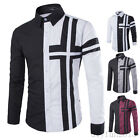 Korean Fashion Mens Casual Shirts Dress Shirts Cross Button Front 4 Colors New