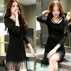 NEW Korean Women Girls Long Sleeve Tassel Casual T Shirts Sexy Mini Dress Black