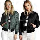 Womens Classic MA1 Quilted Short Jacket Padded Bomber Jacket Coat Outerwear Tops