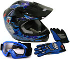Youth Kids ATV Motocross Dirt Bike Black/Blue Punk Helmet w/Goggles+Gloves~S M L
