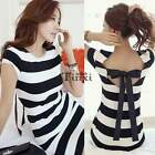 Fashion Sexy Women Short Sleeve Black White Striped Backless Casual Mini Dress