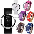 2015 Women Girls Transparent Dial Leather Band Analog Quartz Wrist Watch Watches