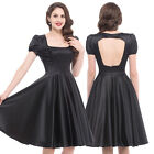 Hollowed Back Vintage Womens Retro 50s 1960s Swing Pin up Rockabilly party Dress