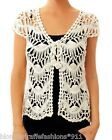 Creamy Ivory Open Crochet Cap Sleeve Tie Front Shrug/Cover-Up Cardigan