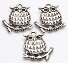 5/20Pcs Tibet Silver Owl Shape Charms Pentant Jewelry Making Handmade 18*16mm