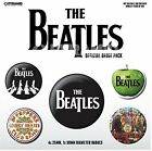 The Beatles (White) pack of 5 round pin badges    (py)