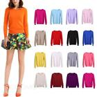Crew Neck Sweater Ladies Cashmere Jumper Womens Warm Wool Pullover Size SSS