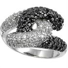 925 Sterling Silver Pave Set Clear Black CZ Sideways Love Knot Ring Size 5-11