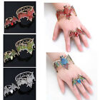 Punk Hero Logo Batman Bat Crystal Cuff Bracelet Bangle Finger Ring Jewellery Set