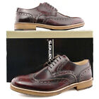 Mens New Oxblood Formal Smart Suit Hi-Shine Leather Brogue Gibson Shoes 6 - 12