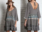 BLACK 03 MIXED PRINT DRESS Tunic Shirt 3/4 Sleeve Bohemian Boho Peasant S M L