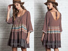 BROWN 03 MIXED PRINT DRESS Tunic Shirt 3/4 Sleeve Bohemian Boho Peasant S M L