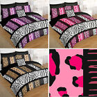 Safari Animal 5Pc Bed In Bag Duvet Set With Leopard Zebra Giraffe Print Design