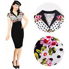 VINTAGE 50'S ROCKABILLY PIN UP EVENING PARTY COCKTAIL PENCIL PROM CAREER DRESS